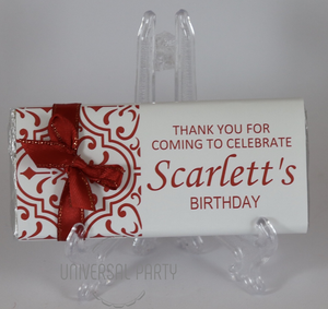 Personalised Red Pattern Chocolate Bar With Ribbon