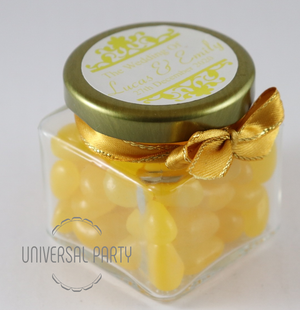 Personalised Square 80ml Jar Filled With Yellow Jelly Beans - Patterned