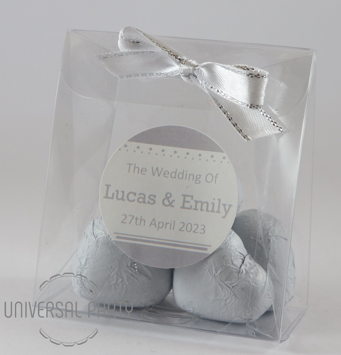 Personalised PVC Box Filled With White Foiled Wrapped Chocolate Hearts