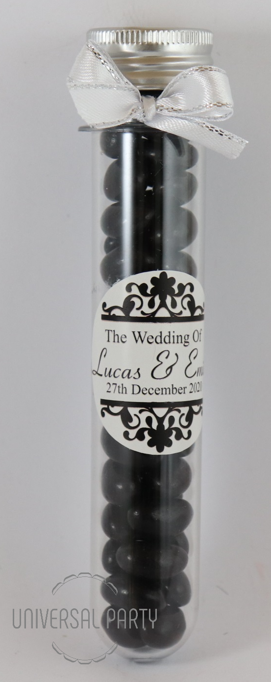 Personalised Acrylic Test Tube Jar Filled With Black Jelly Beans - Patterned