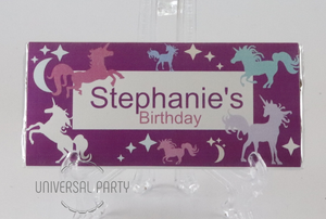 Personalised Purple Unicorn Themed Chocolate Bar