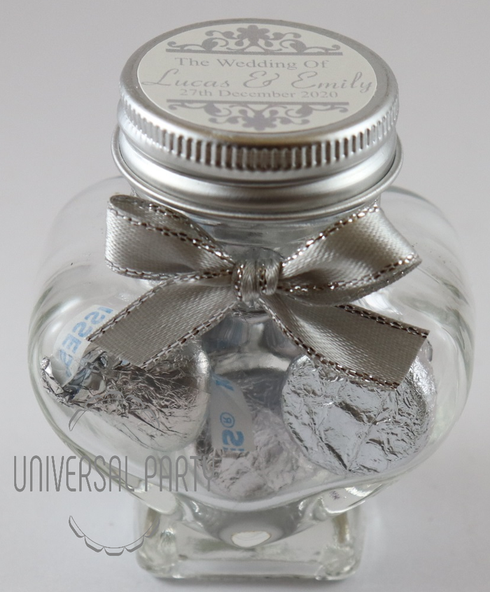 Personalised Glass Heart Shaped 60ml Jar Filled With Chocolate Hersheys Kisses - Silver Patterned