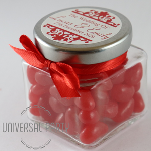 Personalised Glass Square 80ml Jar Filled With Red Jelly Beans