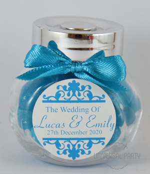 Personalised Glass Mini 50ml Jar Filled With Blue Jelly Beans - Patterned