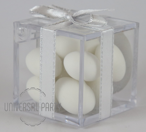 Personalised Square Acrylic Box Filled With White Sugared Almonds - Silver Solid Patterned