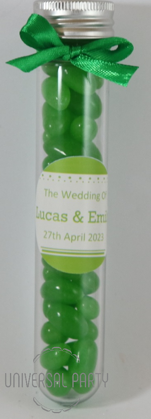Personalised Acrylic Test Tube Jar Filled With Green Jelly Beans - Solid Patterned