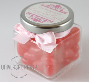 Personalised Glass Square 80ml Jar Filled With Pink Jelly Beans - Patterned