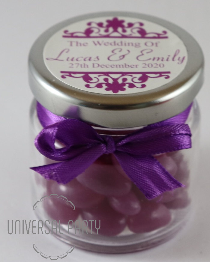 Personalised Glass Round 60ml Jar Filled With Purple Jelly Beans - Patterned
