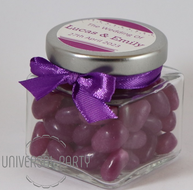Personalised Glass Square 80ml Jar Filled With Purple Jelly Beans