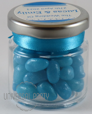 Personalised Glass Round 60ml Jar Filled With Jelly Beans - Solid Patterned