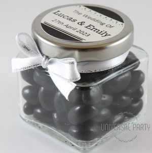 Personalised Glass Square 80ml Jar Filled With Black Jelly Beans