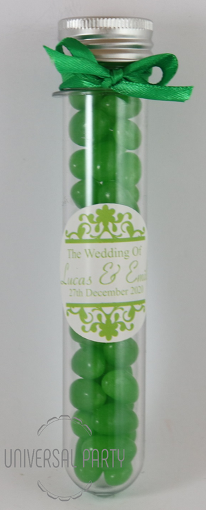 Personalised Acrylic Test Tube Jar Filled With Green Jelly Beans - Patterned