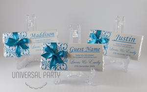 Personalised Individual Guest Names Blue Pattern Chocolate Bar With Ribbon