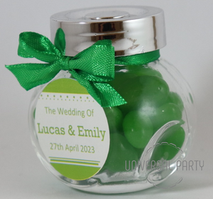Personalised Glass Mini 50ml Jar Filled With Green Jelly Beans