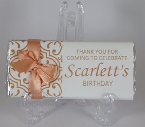 Personalised Coral Orange Pattern Chocolate Bar With Ribbon
