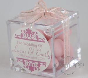 Personalised Square Acrylic Box Filled With Pink Sugared Almonds - Patterned
