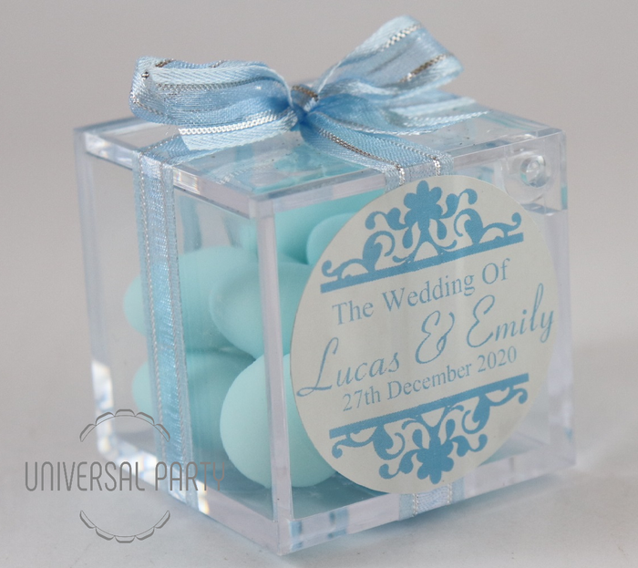 Personalised Square Acrylic Box Filled With Blue Sugared Almonds - Patterned