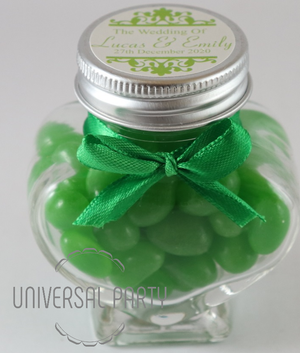 Personalised Glass Heart Shaped 60ml Jar Filled With Green Jelly Beans