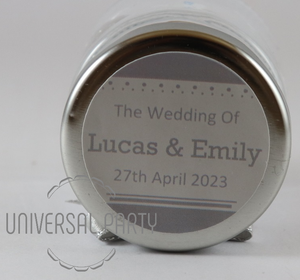 Personalised Glass Round 60ml Jar Filled With Hersheys Chocolate Kisses