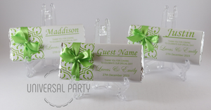 Personalised Individual Guest Names Green Pattern Chocolate Bar With Ribbon