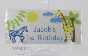 Personalised Blue Safari Themed Chocolate Bar