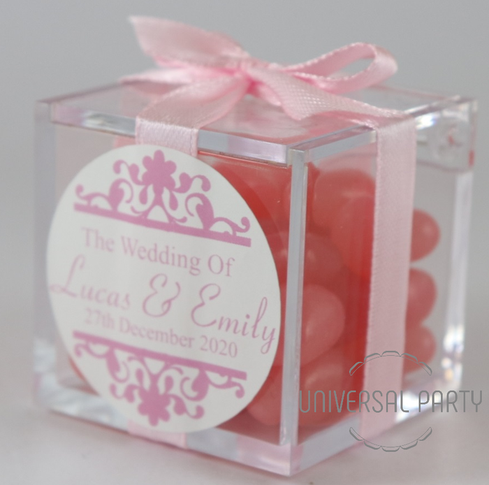 Personalised Square Acrylic Box Filled With Pink Jelly Beans