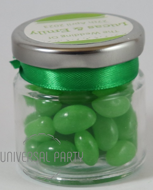 Personalised Glass Round 60ml Jar Filled With Green Jelly Beans