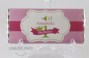 Personalised Pink Gold 1st Birthday Chocolate Bar