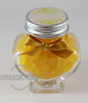 Personalised Glass Heart Shaped 60ml Jar Filled With Yellow Jelly Beans - Patterned