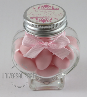 pink christening bombonieres favours sugared almonds