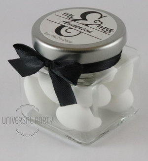 Personalised MR & MRS Glass Square 80ml Jar Filled With Sugared Almond