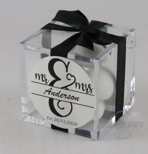 Personalised MR & MRS Square Acrylic Box Filled With Sugared Almond