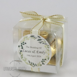 Personalised Green Floral Square PVC Box Filled With Foiled Wrapped Chocolate Hearts
