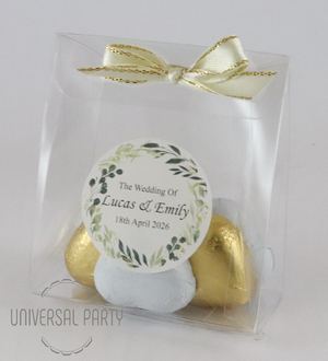 Personalised Green Floral PVC Box Filled With Foiled Wrapped Chocolate Hearts