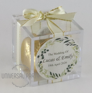 Personalised Green Floral Square Acrylic Box Filled With Foiled Wrapped Chocolate Hearts