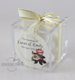 Personalised Pink Black Floral Gold Frame Square Acrylic Box Filled With Sugared Almond