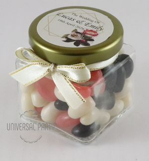 Personalised Pink Black Floral Gold Frame Glass Square 80ml Jar Filled With Jelly Beans