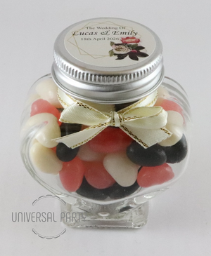 Personalised Pink Black Floral Gold Frame Glass Heart Shaped 60ml Jar Filled With Jelly Beans