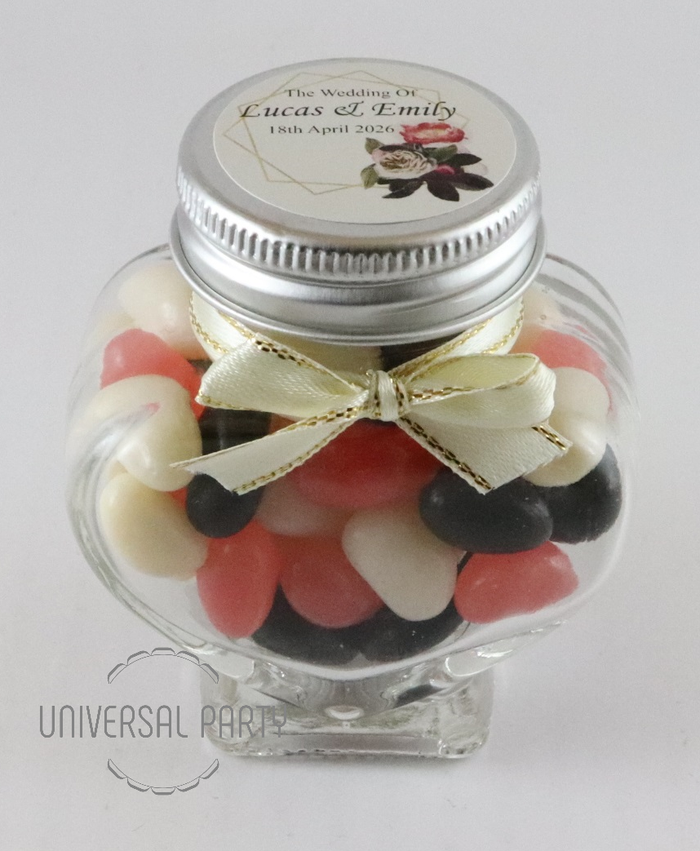 Personalised Glass Heart Shaped 60ml Jar Filled With Jelly Beans - Pink Black Floral Gold Frame Themed