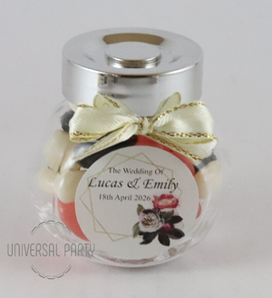 Personalised Pink Black Floral Gold Frame Glass Mini 50ml Jar Filled With Jelly Beans