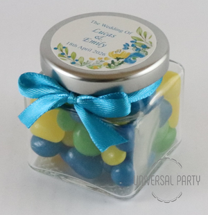 Personalised Glass Square 80ml Jar Filled With Jelly Beans - Blue Green Yellow Floral