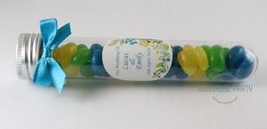 Personalised Acrylic Test Tube Jar Filled With Jelly Beans - Blue Green Yellow Floral