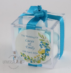 Personalised Square Acrylic Box Filled With Sugared Almonds - Blue Green Yellow Floral