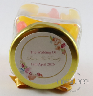 Personalised Glass Square 80ml Jar Filled With Jelly Beans - Pink And Gold Floral