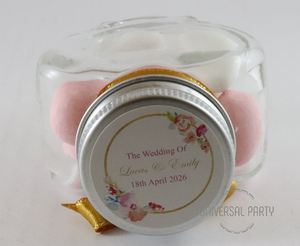 Personalised Glass Heart Shaped 60ml Jar Filled With Sugared Almonds - Pink And Gold Floral