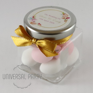 Personalised Glass Square 80ml Jar Filled With Sugared Almonds - Pink And Gold Floral