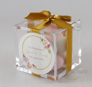 sugared almonds box pink gold