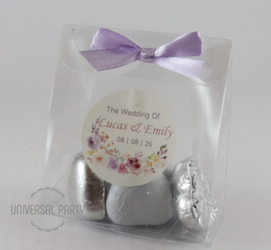 Personalised Lilac Lavender Floral Themed PVC Box Filled With Foiled Wrapped Chocolate Hearts