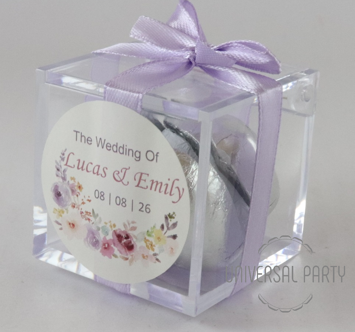 Personalised Square Acrylic Box Filled With Foiled Wrapped Chocolate Hearts - Lilac Lavender Purple Floral Themed