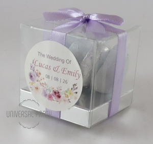 Personalised Square PVC Box Filled With Foiled Wrapped Chocolate Hearts -With Sticker - Lilac Lavender Purple Floral Themed